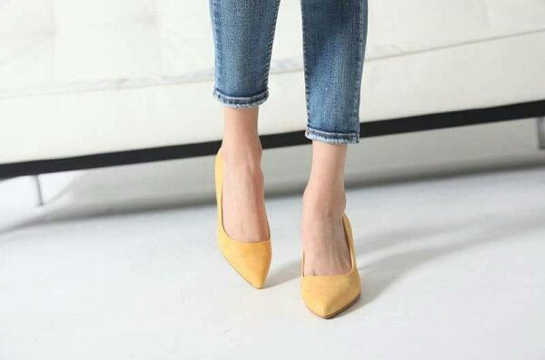 馬卡龍色OL高跟鞋 (黃色)