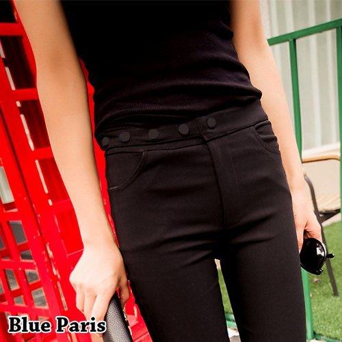 窄管褲 - 高腰橫排五釦顯瘦彈力窄管褲【23298】藍色巴黎-現貨+預購 0
