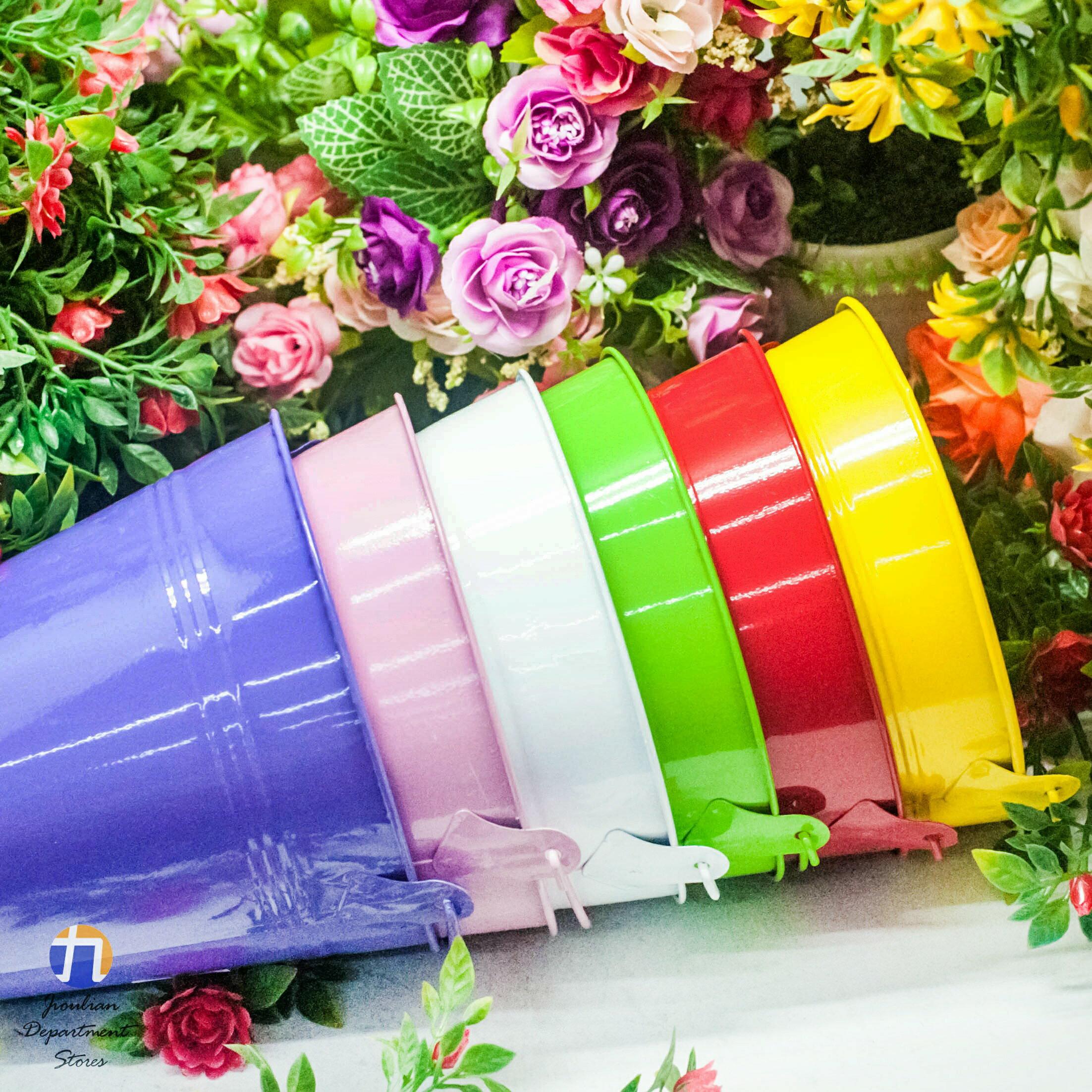 {九聯百貨} 水桶造型 家飾籃 造型花盆 (水桶造型) 桌上盆 鐵製造型花盆 6色