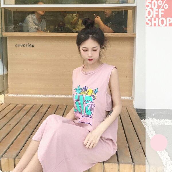50%OFFSHOP韓國無袖t恤女寬鬆背心連衣裙(1色)【G035579C】