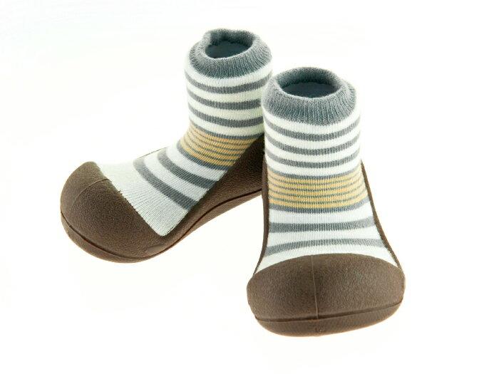 【本月特價$599】韓國【Attipas】快樂腳襪型學步鞋-花香棕 0