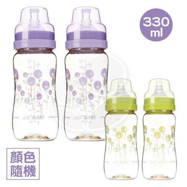USBABY優生真母感PPSU奶瓶(寬口徑330ml)-2入(紫綠)【悅兒園婦幼生活館】