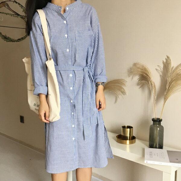 現貨 甜美寬鬆直筒棉麻鏤空露背直條紋連身裙