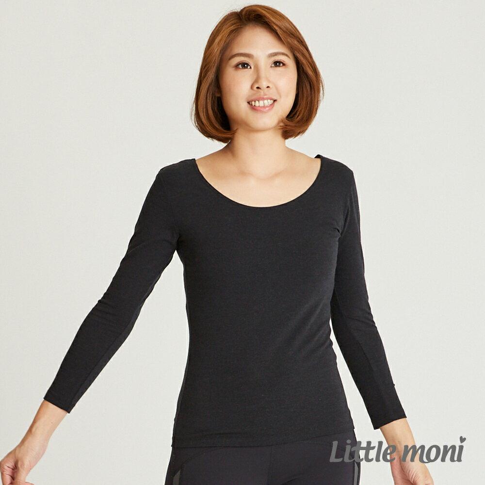 Little moni 發熱紗系列Mo2Heat成人圓領上衣-黑色 1