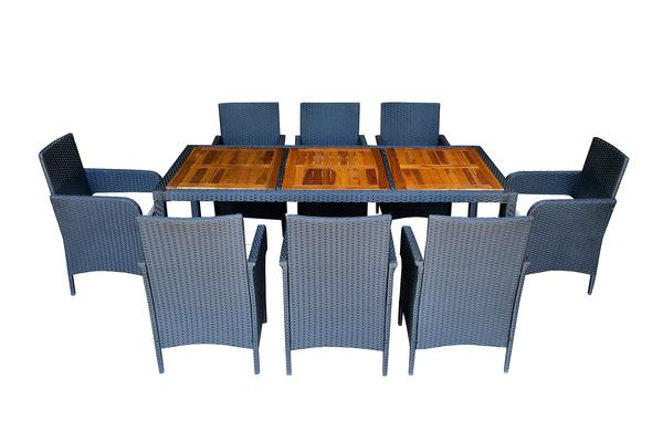 9pcs Outdoor Patio Rattan Wicker Furniture Chair Dining Table Set W/  Cushioned 4