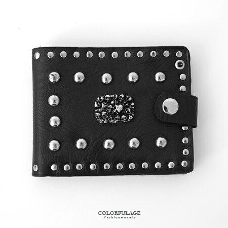 皮夾 小骷髏組成軍牌造型扣式皮革短夾 龐克搖滾風 潮流人氣款 柒彩年代【NW425】最佳配件