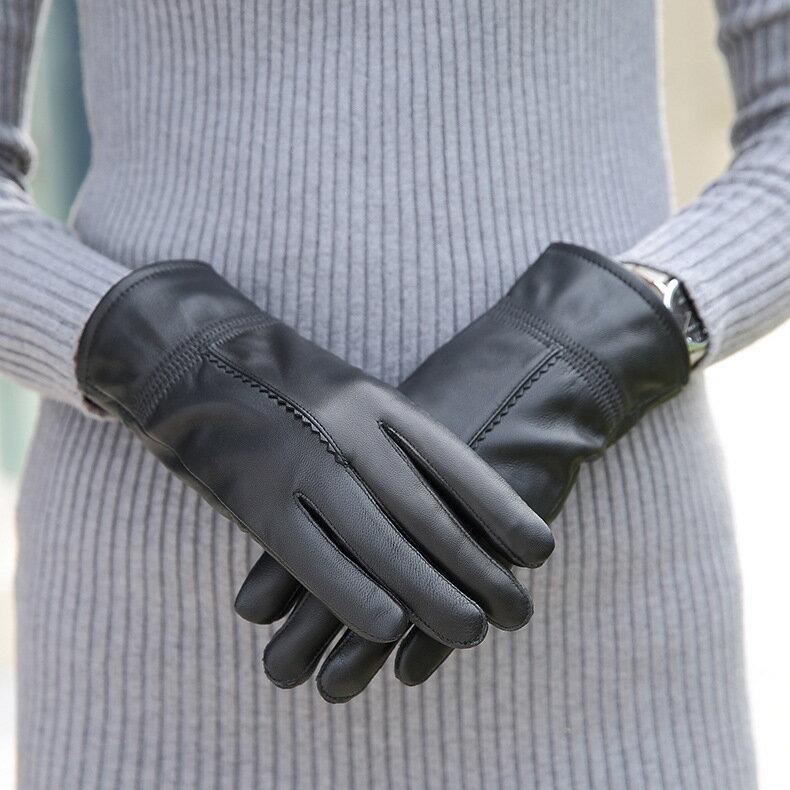 真皮手套保暖手套-黑色綿羊皮加絨百搭女手套73wm56【獨家進口】【米蘭精品】 0