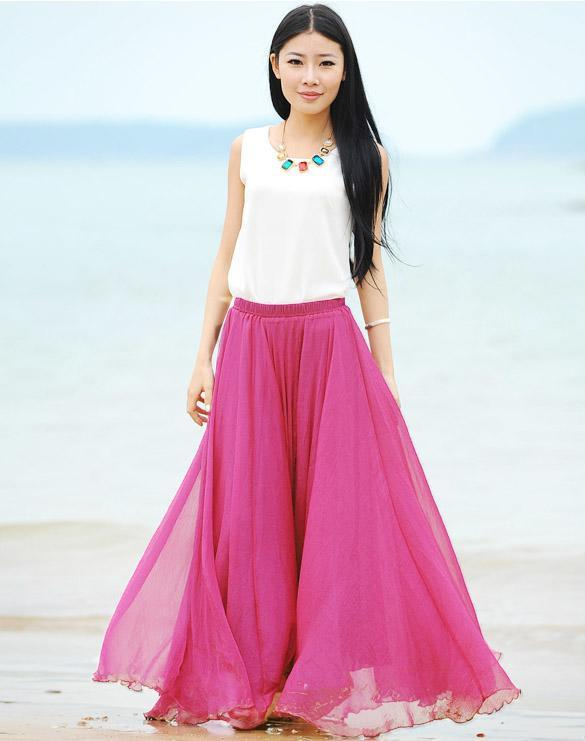 Maxi Long Bohemian Restore Women Shinning Chiffon Long Skirt 4