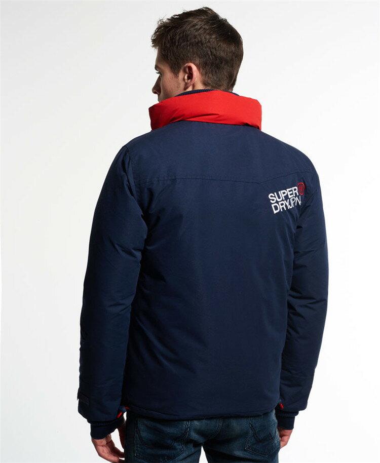 [男款]英國代購 極度乾燥 Superdry Snow Rider 立領 刷毛 防寒防風水滑雪衣系列 風衣雪地騎士 深藍/紅色 1
