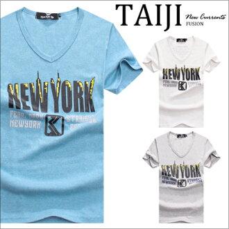 美式短T‧NEW YORK字樣V領棉質短T‧三色【NQ10617】-TAIJI-設計/運動/簡約