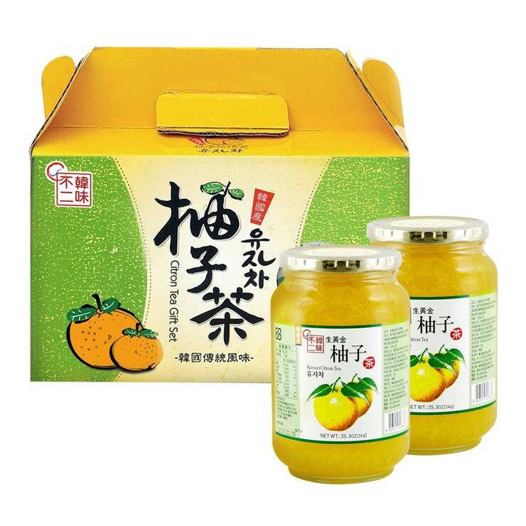 【 現貨 】韓味不二柚子茶飲組 1公斤 X 2入