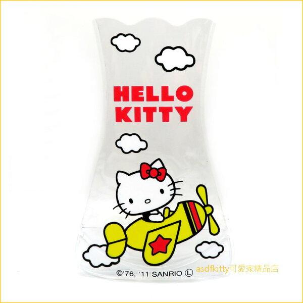 asdfkitty可愛家☆KITTY坐飛機透明軟花瓶-日本正版商品
