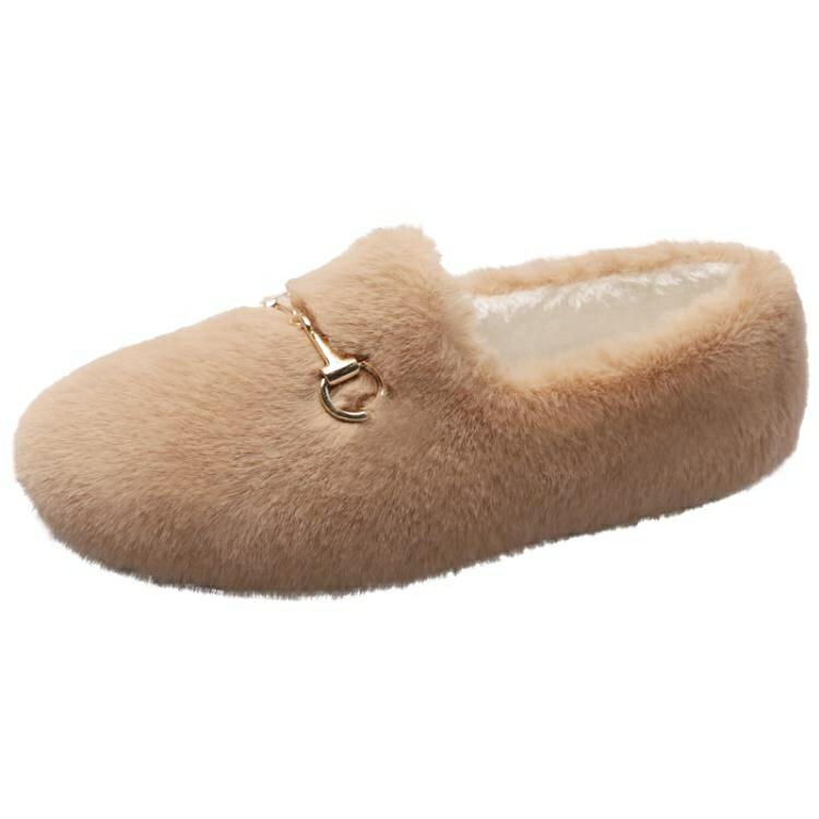 豆豆鞋 棉鞋女秋冬一腳蹬豆豆鞋冬季外穿毛毛鞋軟底加絨韓版白色