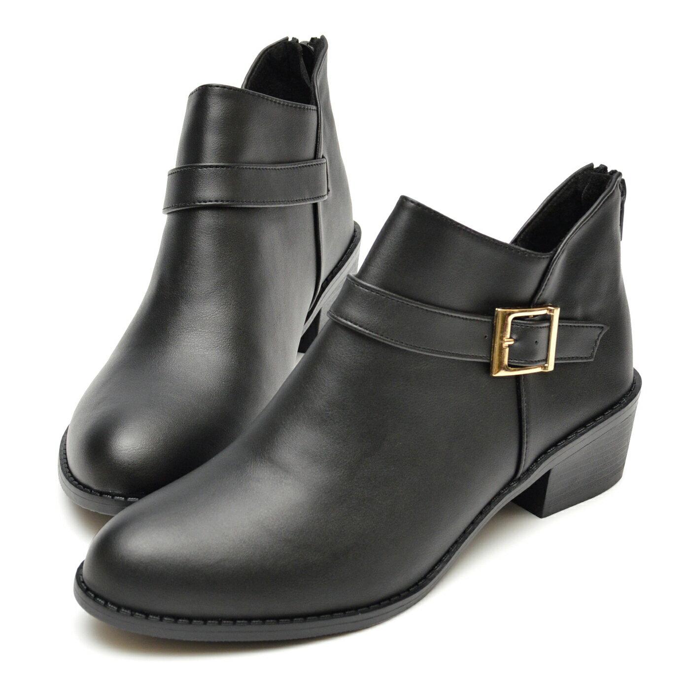 踝靴 側方釦皮革拉鍊低跟靴-黑