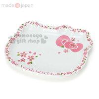 〔小禮堂〕Hello Kitty 日製造型陶瓷盤《大.白粉.櫻花.大臉型》櫻花系瓷器 0