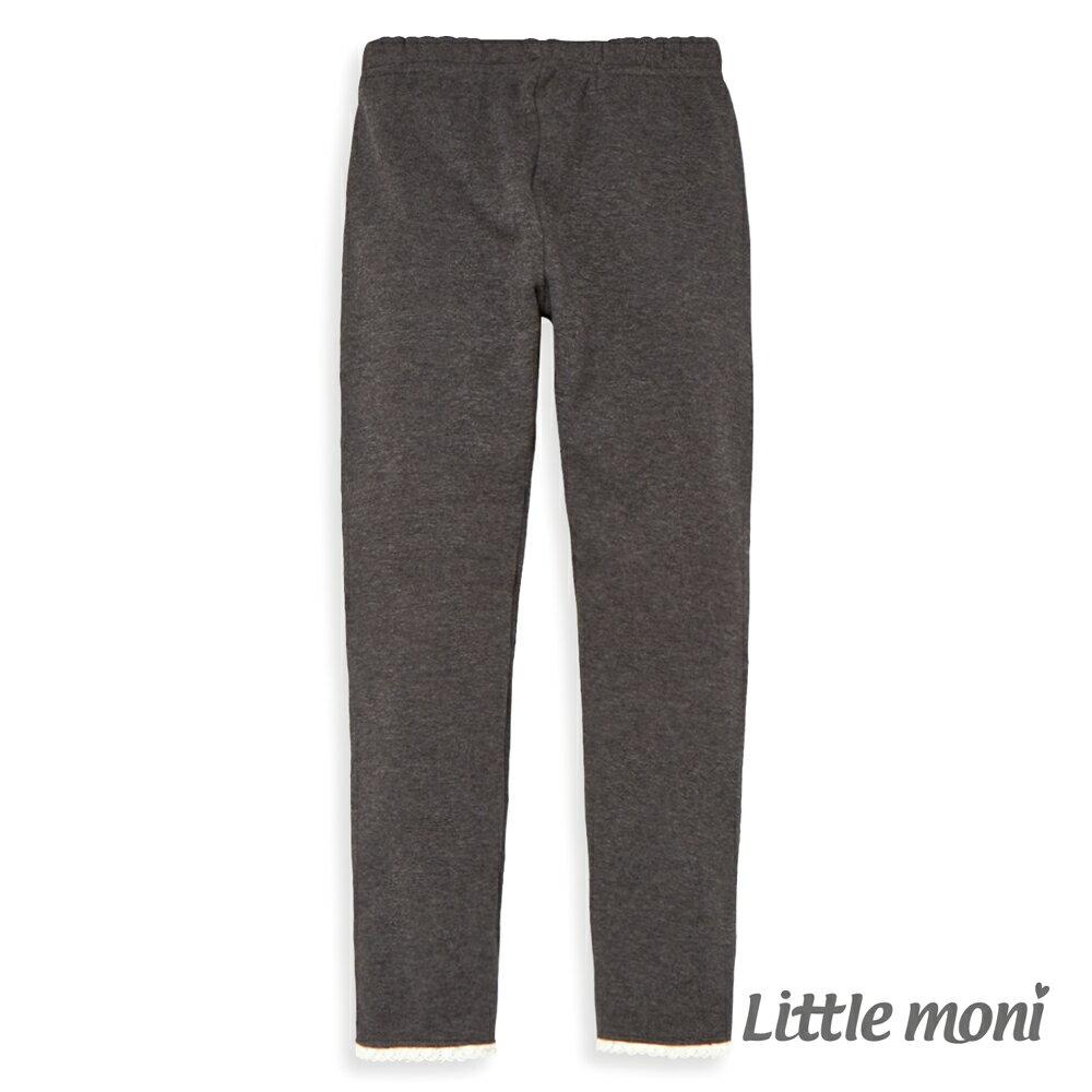 Little moni 褲口蕾絲花邊合身褲-深麻灰(好窩生活節) - 限時優惠好康折扣