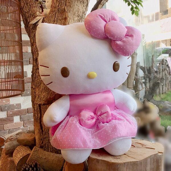 【真愛日本】18090300002絨毛娃24吋-KT白點洋裝粉凱蒂貓kitty絨毛娃娃娃娃美國限定大娃娃