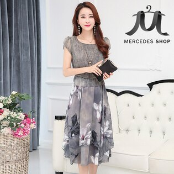 《全店75折》中大尺碼韓國假兩件印花雪紡收腰大擺連身裙短袖洋裝(M-4XL,2色)-梅西蒂絲(現貨+預購)