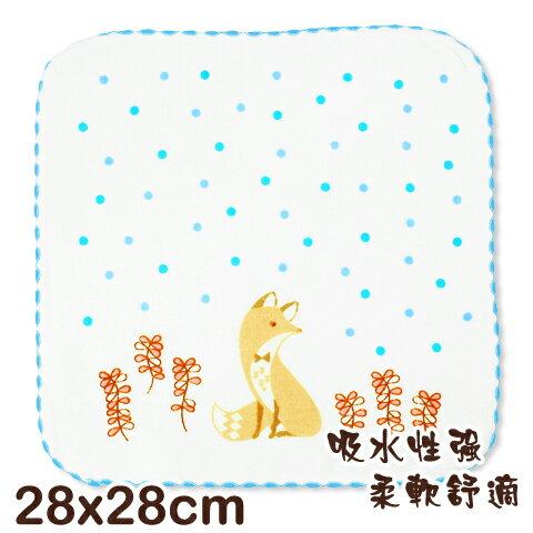 可愛動物純棉紗布方巾 狐狸印花 平價高品質的選擇 台灣製