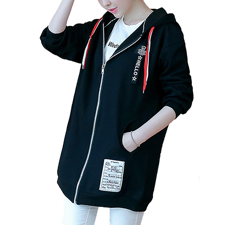 連帽外套--休閒個性風連帽英字織帶羅紋口袋寬鬆加絨拉鍊外套(黑XL-4L)-J239眼圈熊中大尺碼 0
