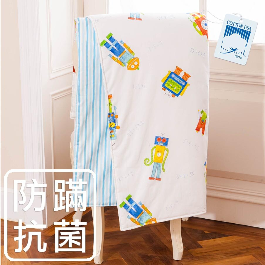 ~鴻宇‧防蟎抗菌~美國棉 防蟎抗菌寢具 製 兒童涼被 絲毯涼被 宇宙機器人176516