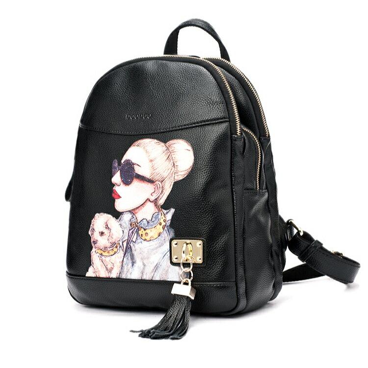 時尚經典後背包 潮流印花仕女包 學院風後背包 貼心多隔層設計#DOD026