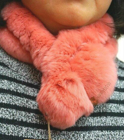 日本帶回 秋冬保暖必備!GNA 時尚名媛立體毛球兔毛圍巾/脖圍/保暖小物【粉紅】【深紫】【快樂熊雜貨舖】