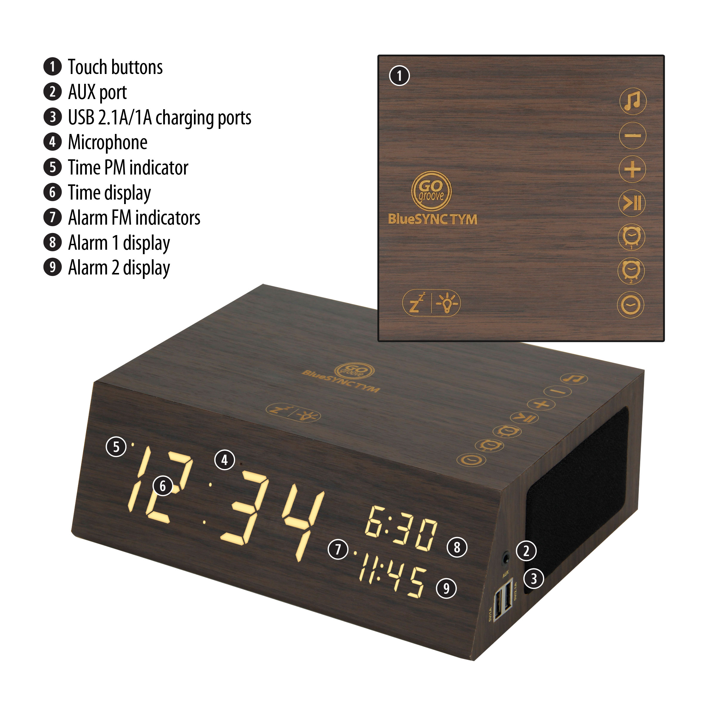 Bluetooth Alarm Clock Radio Speaker by GOgroove - Wood , FM Radio , Dual Alarms , USB Charging Ports 2