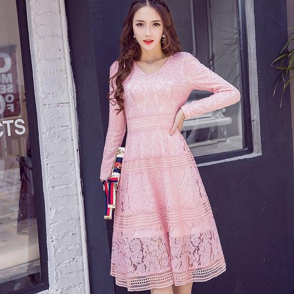 灰姑娘[18030-QF]性感V領保暖加絨加厚氣質蕾絲腰身連身裙洋裝