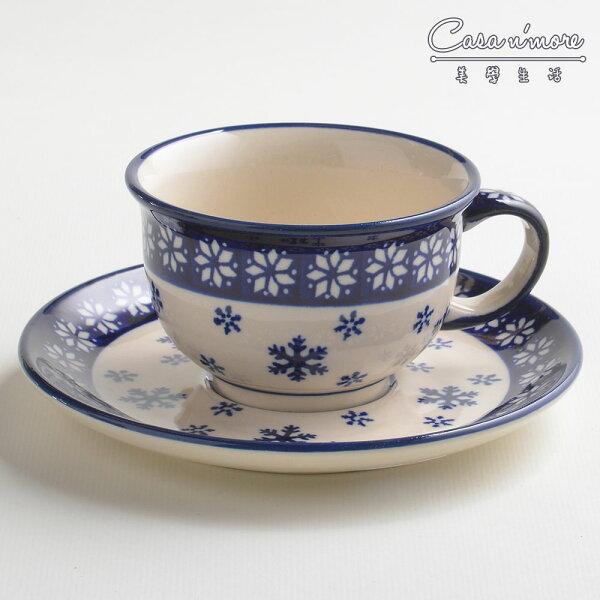 波蘭陶雪白冰花系列花茶杯盤組馬克杯點心盤220ml波蘭手工製