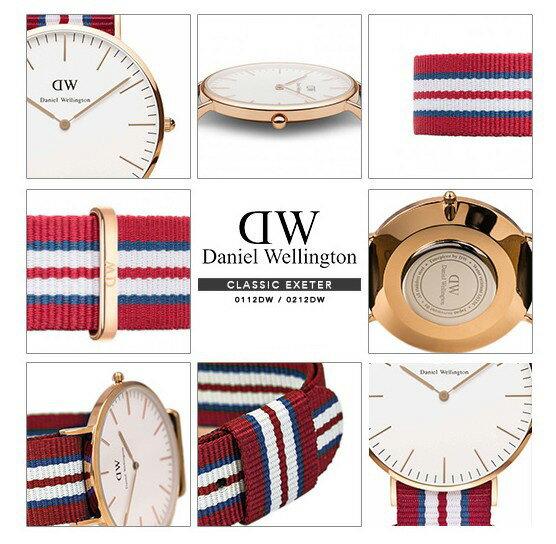 瑞典正品代購 Daniel Wellington 0112DW 玫瑰金 尼龍 帆布錶帶 男錶手錶腕錶 40MM 4