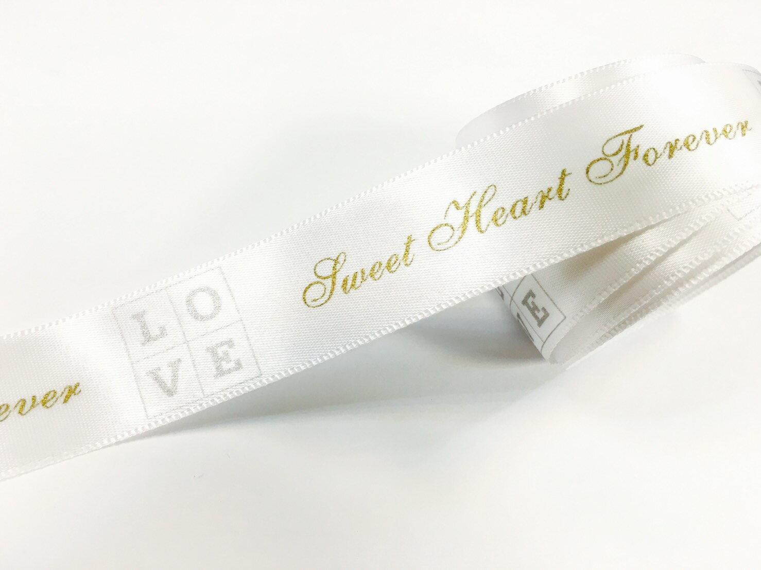【Crystal Rose緞帶專賣店】單面緞金銀LOVE緞帶 22mm 3碼裝 - 限時優惠好康折扣