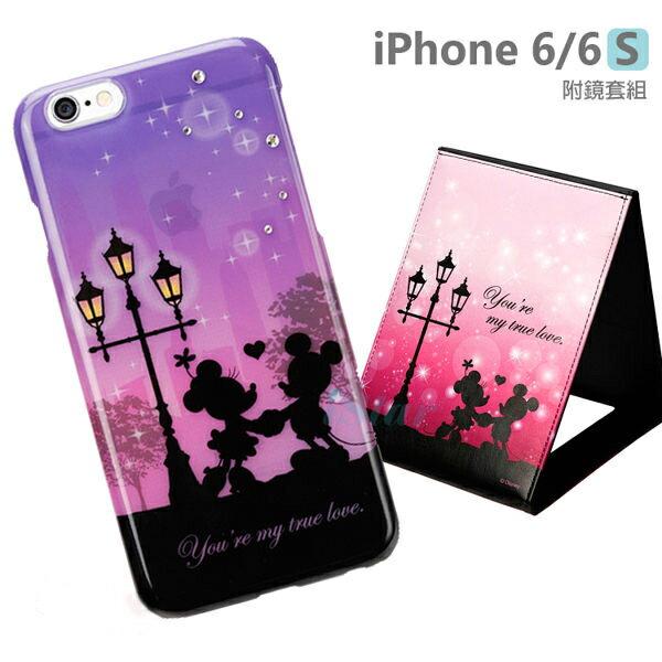 【日本 PGA-iJacket】正版 迪士尼 iPhone 6/6s 4.7吋 華麗感星空剪影附鏡套組系列-米奇米妮