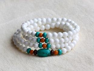 白硨磲配綠松石老蜜蠟白硨磲多層108顆佛珠手串女