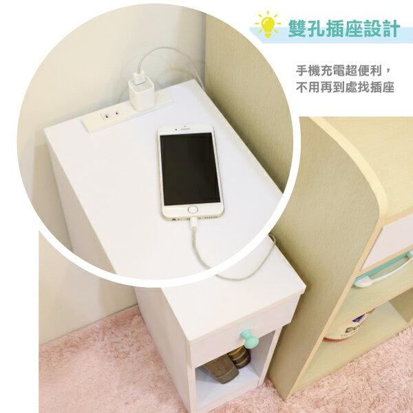 收納櫃 置物櫃 邊櫃 床頭櫃 馬卡龍系列日系床頭櫃(II)(單抽屜) (附插座) 天空樹生活館 3