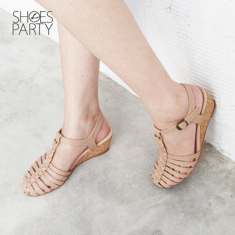 【S2-18513L】真皮手工編織楔型涼鞋_Shoes Party 1