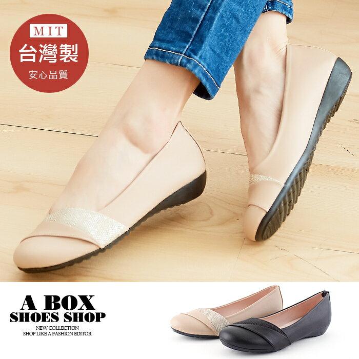 【AN357】2.5CM低粗跟圓頭包鞋 娃娃鞋 低跟鞋 皮革材質 MIT台灣製 2色