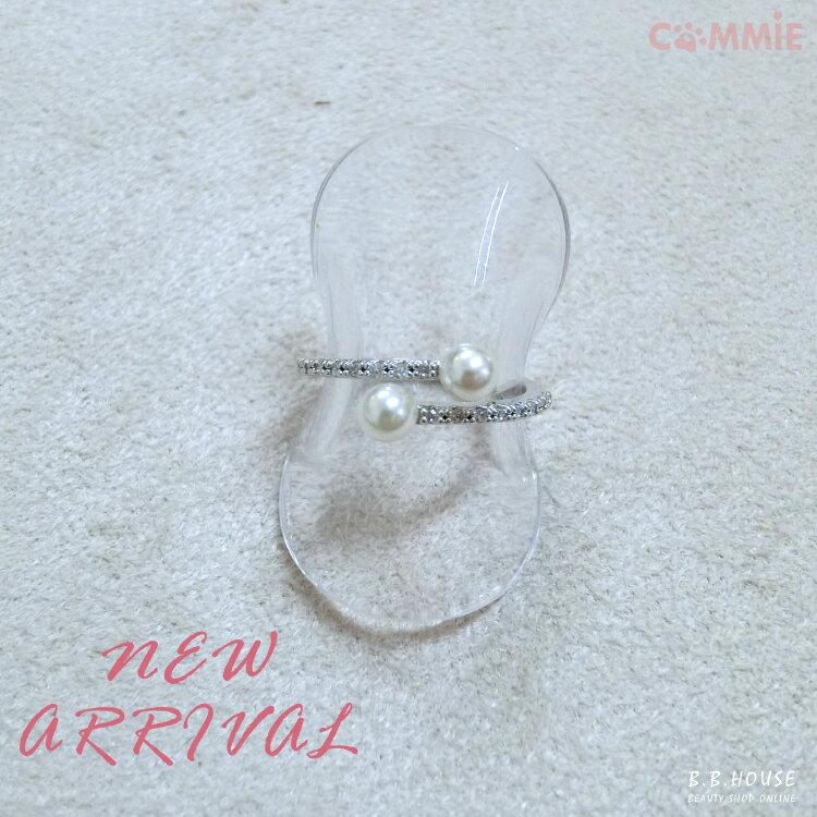 戒指-小珍珠向左走向右走鑲鑽戒指.寶貝窩 .【KR005】(現+預)