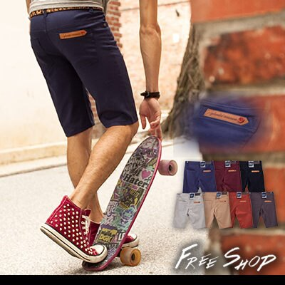 《全店399免運》Free Shop【ABJ88819】 皮標鈕扣口袋 彈性斜紋布料工作休閒窄版短褲‧七色