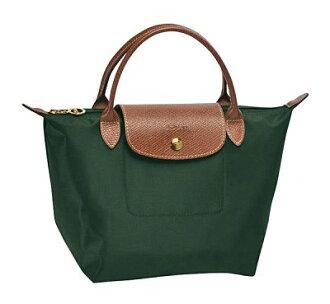 [短柄S號]國外Outlet代購正品 法國巴黎 Longchamp [1621-S號] 短柄 購物袋防水尼龍手提肩背水餃包 墨綠色