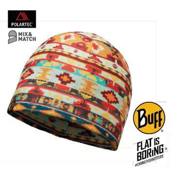 ~登山樂~西班牙 BUFF 暖橘圖騰 POLAR 保暖帽 # BF113176~555~1