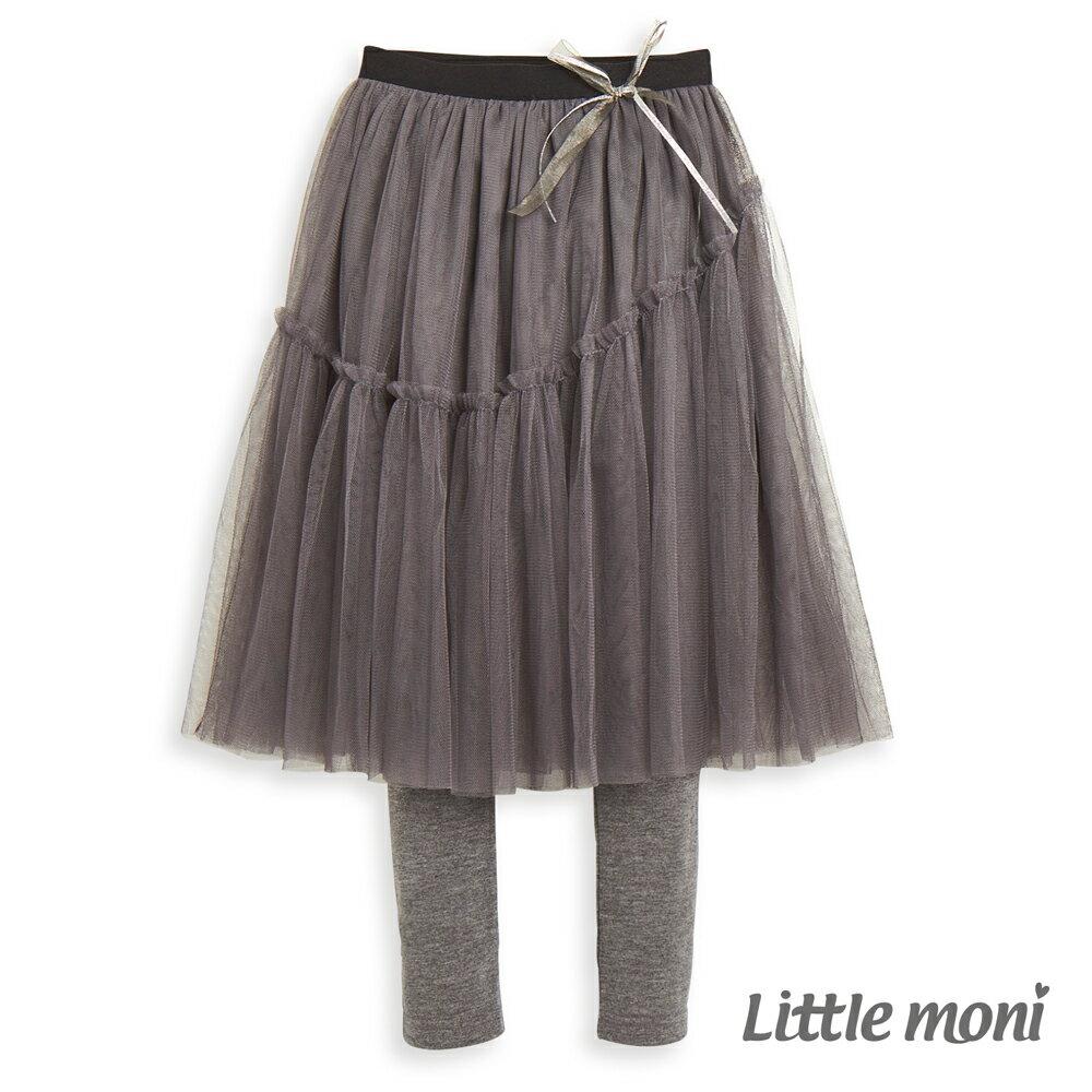 Little moni 假兩件不規則網紗蓬裙-深麻灰(好窩生活節) 0
