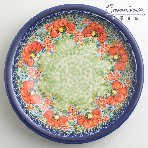 波蘭陶繽紛紅卉系列圓形深餐盤陶瓷盤菜盤水果盤圓盤深盤22cm波蘭手工製