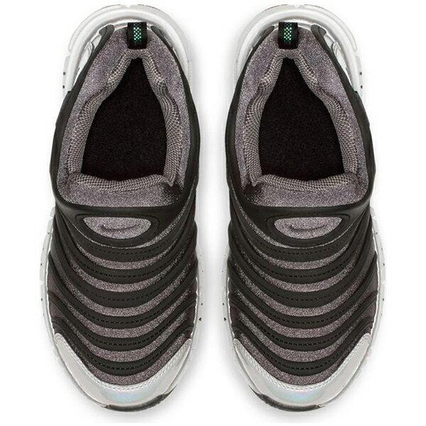 Shoestw【BQ7105-001】NIKE DYNAMO FREE 童鞋 毛毛蟲 中童鞋 黑灰銀 可凹折 2