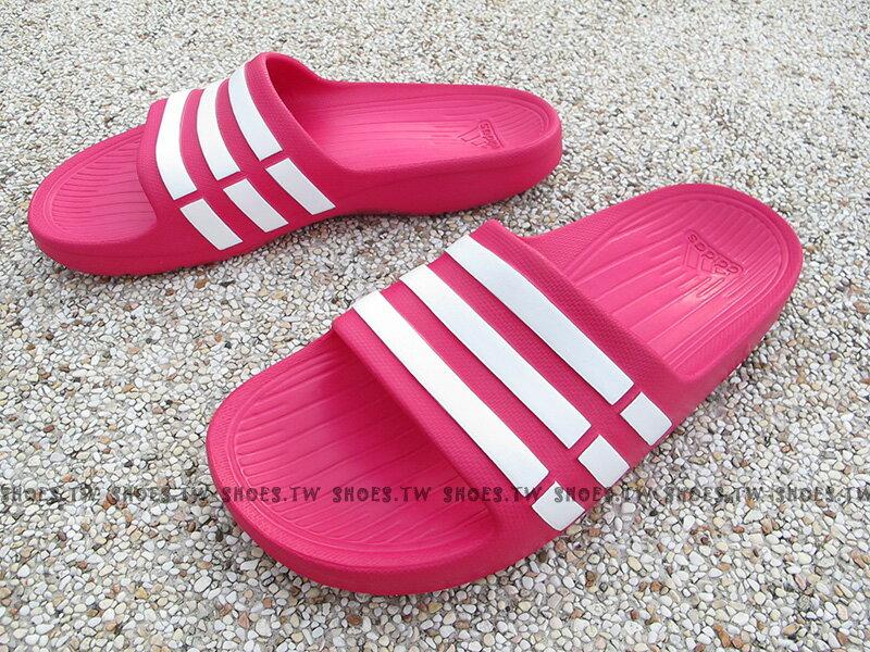 Shoestw【G06797】ADIDAS DURAMO K SLIDE 拖鞋 一體成型 桃紅白 大童 0
