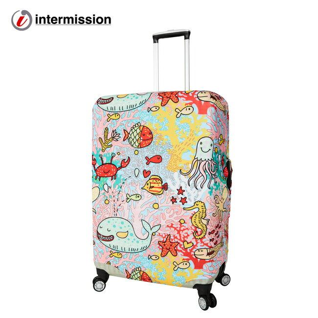 【Intermission】LCS374 海洋生態 外銷日本 彈力保護套 行李箱套 旅行箱防塵罩 防塵套 特殊圖案(M 、L號 行李箱) 0