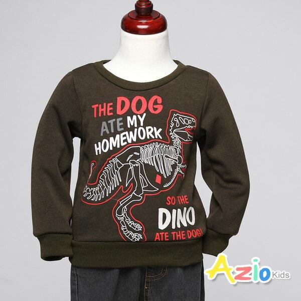 Azio Kids美國派:《美國派童裝》上衣不倒絨恐龍框架字母上衣(橄欖綠)