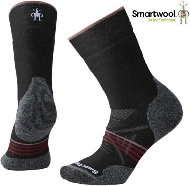 Smartwool 羊毛襪/排汗襪/保暖襪子/美麗諾羊毛 女款 PhD戶外中級減震中長襪 SW001064 A62黑/酒紅
