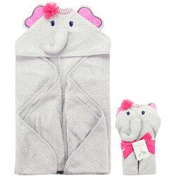 【hella 媽咪寶貝】美國  luvable friends  嬰幼兒動物造型連帽浴巾/包巾_大象公主 (LF71004)