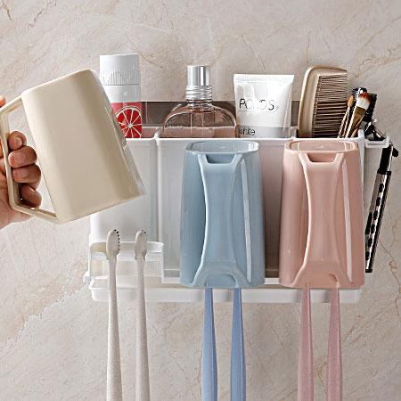 無痕貼系列漱口杯牙刷置物架牙刷置物架牙刷架置物架收納架壁掛式浴室無痕無痕貼【N102844】